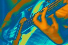 Neon Bass. Abstact neon effect bass player Stock Photos