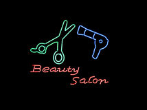 Neon Beauty Salon Sign Royalty Free Stock Photo