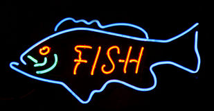 Neon big fish. Neon sign big fish letters Royalty Free Stock Photo
