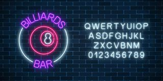 Neon billiards bar sign with alphabet on a brick wall background. Glowing billiard ball with 8 number vector illustration
