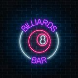 Neon billiards bar sign on a brick wall background. Glowing billiard ball with 8 number. Night advertising symbol vector illustration