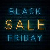 Neon Black Friday vektor illustrationer