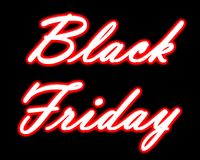 Neon Black Friday title. Neon Black Friday title on transparent and black isolated background vector illustration