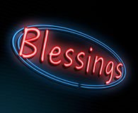 Neon blessings concept. Illustration depicting an illuminated neon sign with a blessings concept Royalty Free Stock Images