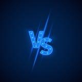 Neon blu contro il logo contro le lettere per gli sport e la concorrenza di lotta Simbolo di vettore royalty illustrazione gratis