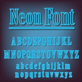 Neon blue alphabet. Royalty Free Stock Photos