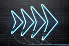 Neon blue arrow isolated on black brick wall. Illustartion of neon blue arrow isolated on black brick wall Stock Image