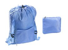 Neon blue backpack and purse isolated on white background. Close up, high resolution Royalty Free Stock Photo