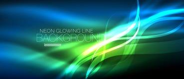 Neon blue elegant smooth wave lines digital abstract background. Neon elegant smooth wave lines vector digital abstract background stock illustration