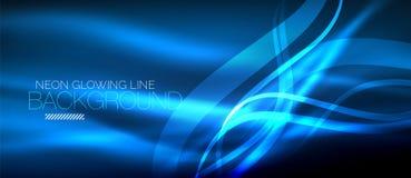 Neon blue elegant smooth wave lines digital abstract background. Neon elegant smooth wave lines vector digital abstract background vector illustration