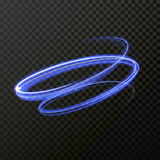 Neon blue fire swirl spiral  light trail trace. Neon blue swirl spiral light trail. Vector abstract light trace in speed motion. Luminous abstract glitter Royalty Free Stock Photography