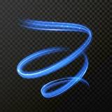 Neon blue fire swirl spiral  light trail trace. Neon blue swirl spiral light trail. Vector abstract light trace in speed motion. Luminous glitter shimmer light Royalty Free Stock Photos
