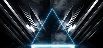 Neon Blue Glowing Triangle Sci Fi Futuristic Virtual Spaceship Abstract Triangle Glossy Metal Concrete Grunge Dark Empty Cinematic. Corridor Room Hallway stock illustration