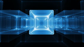 Neon Blue  Ice Cubes Rotating On Black Background Stock Photo