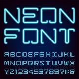 Neon Blue Light Alphabet Vector Font. Stock Images