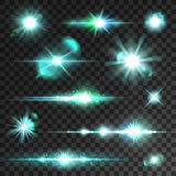 Neon blue light flashes and sparks. Light flashes and sparks. Star and sun sparkling beams and rays with lens flare effect on transparent background Royalty Free Stock Photo