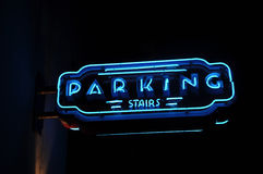 Neon Blue Parking Sign Royalty Free Stock Photo