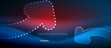 Neon techno arrow, digital abstract background Royalty Free Stock Images