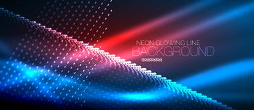 Neon smooth wave digital abstract background. Neon blue vector smooth wave digital abstract background stock illustration