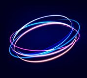 Neon blurry circles at motion. Abstract luminous swirl trail, slow shutter speed effect. Light painting. Lights shape at motion. Vector illustration Royalty Free Stock Image