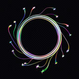 Neon blurry circles at motion . Vector swirl trail effect . Abstract luminous rings slow shutter speed effect . Bokeh glitter roun. EPS10. Neon blurry circles at Royalty Free Stock Photos