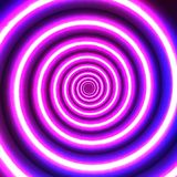 Neon blurry spiral. Glow effect. Vector background. Neon spiral. Abstract glowing purple background. Vector illustration. Rotation and movement to the center royalty free illustration