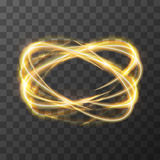 Neon blurry swirl, golden trail effect at motion. Luminous rings on transparent background Royalty Free Stock Photo