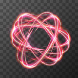 Neon blurry swirl, red trail effect at motion. Luminous rings on transparent background Royalty Free Stock Images