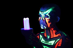 Neon body-art Royalty Free Stock Images