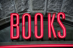 Neon books sign Stock Image