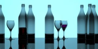 Neon bottles and glasses banner. Back-lit glass bottles and wine glasses in a wide-screen format vector illustration