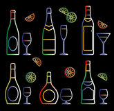 Neon bottles and glasses (vector) Stock Photo