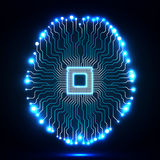 Neon brain. Cpu. Circuit board Royalty Free Stock Photo