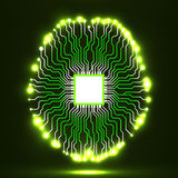Neon brain. Cpu. Circuit board. Abstract technology background. Vector illustration Eps 10 Stock Image