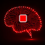 Neon brain. Cpu. Circuit board. Abstract technology background. Vector illustration Eps 10 Stock Photo