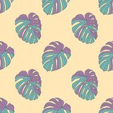 Neon bright graphic illustration seamless pattern with teal and purple monstera deliciosa windowleaf plant leaves on light yellow vector illustration