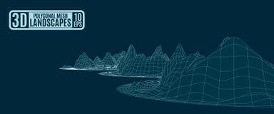 Neon bright grid mountain landscape royalty free illustration