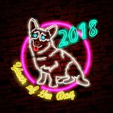 Neon bright sign. Logo. Bright banner. Emblem. Vector image. New year 2018 neon sign. Vector background with dog. Neon bright sign. Logo. Bright banner. Emblem Stock Photo