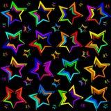 Neon bright stars. Royalty Free Stock Photography