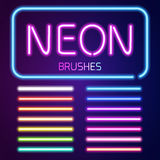 Neon brushes set Stock Photos