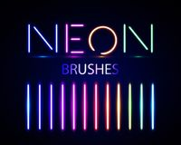 Neon brushes set. Set of colorful light objects on dark backgroun.  Royalty Free Stock Photo