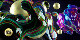 Neon Bubbles and golden spheres on a black background. Royalty Free Stock Image