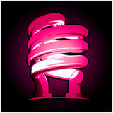 Neon bulb in pink. Pink neon bulb in black background Royalty Free Stock Images
