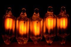 Neon Bulbs. Five Small Neon Glass Bulbs Stock Image