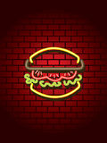 Neon burger sign Stock Image