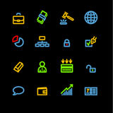 Neon business icons. Vector icon set, neon series Royalty Free Stock Image