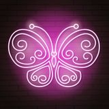 Neon butterfly on brick. Background vector illustration Stock Photography