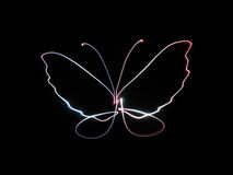 Neon butterfly. Butterfly drawing with neon light stock photo