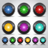 Neon button. Neon metal button of the future Stock Images