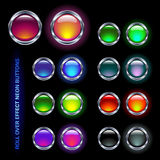 Neon buttons. Set of neon-colored chrome and glass buttons for rollover-effects (off/on pairs Stock Photo